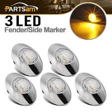 Freightliner Interior Lights Amazon Com Partsam 5pcs 3x2 Inch Mini Oval Amber Led Marker