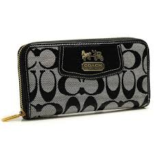 Best Style Coach Logo In Signature Large Grey Wallets Bfy Outlet 6Ypje