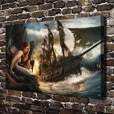 A140 Sexy Meerjungfrau Pirate Cartoon Figuren Landschaft Hd Leinwand Home Decoration Wohnzimmer Schlafzimmer Wandbilder Malerei