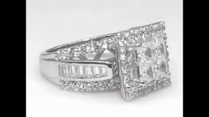 tinnivi gorgeous princess cut 925 sterling silver white sapphire women s enement ring