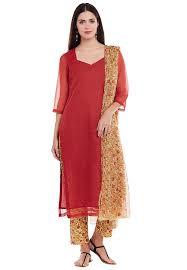 Kota Doria Suits Designs Printed Kota Doria Cotton Pakistani Suit In Red