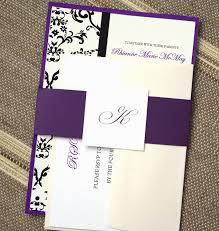 Invitations Formal Elegant Damask Wedding Invitations Formal Wedding Invites Unique Black Monogram Eggplant Purple By Anna Malie Design In Love Studio