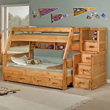Light Brown Wooden Full Bunk Beds With Stairs And Drawers Also Shelf Having  Grey Bed Sheet