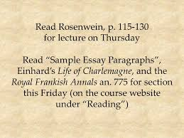 rosenwein p for lecture on thursday ldquo sample essay 1 rosenwein