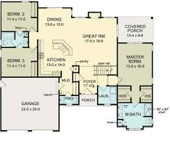 ranch house floor plans. First Floor Plan Of Ranch House 54066. Move Garage Back, 2 Bed/ Plans P