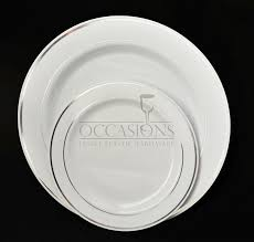 amazon com occasions disposable plastic plates white w silver amazon com occasions disposable plastic plates white w silver trim 120 pieces 7 5 salad dessert plate kitchen dining