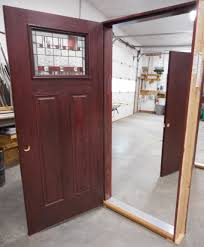 entry door w mahogany stain and art glass insert