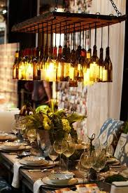 wine lighting. wine bottle chandelier better with clear bottles circular shape and different levels lighting a