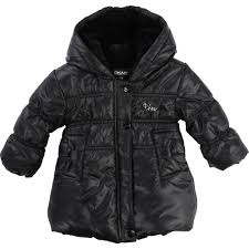 dkny baby girl fur hood puffer jacket black