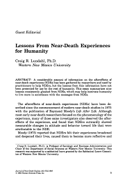 guest editorial lessons from near death experiences for humanity  primary view of object titled guest editorial lessons from near death experiences for