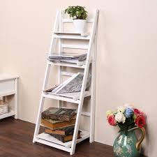 Befied Leiterregal Standregal Badregal Treppenregal Für Bücher Mit 34 Regalböden Holz Robust 4 Stufig Weiß