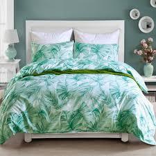 past bed linen set palm leaves bedding set s bed bedclothes microfiber green comforter duvet cover set for king queen