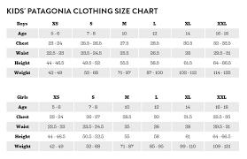 Patagonia Child Size Chart Patagonia