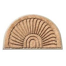 sailor moon doormat first impressions half sunburst beige tapered edge rubber coir 2 x 3 half moon