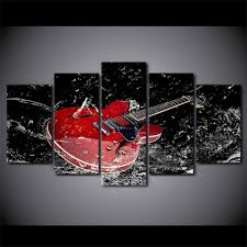 5 piece canvas wall art red guitar splash print wall picture for living room ash on guitar canvas wall art red with 5 piece canvas wall art red guitar splash print wall picture for