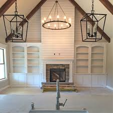 modern farmhouse lighting. Example Of Built-ins With Shiplap Above And Wood Beams. Also Circle  Chandelier For Family Room - BW Modern Farmhouse Lighting