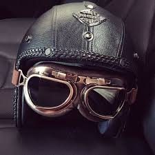 details about dot vintage leather motorcycle helmet open face cruiser helmet goggles face mask