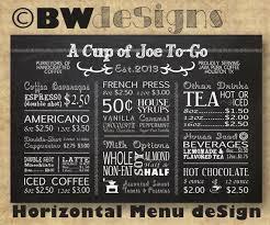 Coffee Menu Cool Custom HORIZONTAL MENU Board Coffee Shop Sign Restaurant Etsy