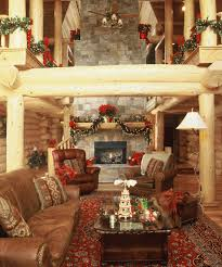 decoration witching log home ideas using pine branch decorations on wooden fireplace mantel shelf across