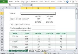 Blood Pressure Forms For Tracking Free Blood Pressure Tracker Template For Excel