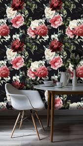 Zelfklevend Behang Bloemen Rood Zwart 60x122 Tapetshow Homedeconl