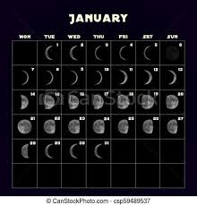 Moon Phases Calendar For 2019 With Realistic Moon January Vector