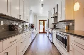 galley kitchen design ideas. contemporary white galley kitchen with gray quartz countertops design ideas t