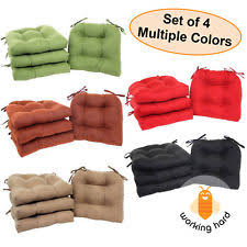 chair cushions with ties. CHAIR CUSHIONS SET OF 4 Microfiber Pad Seat With Ties Durable Filling Dining Chair Cushions