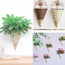 wicker flower basket pot wall hanging
