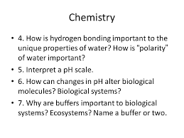 ap biology review for ap exam first quiz topics ppt how is hydrogen bonding important to the unique properties of water