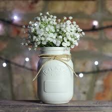 Mason Jar Table Decorations Wedding White Painted Kilner Mason Jar UK Wedding Centrepiece Table 66