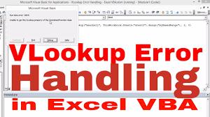 Vlookup Error Handling Excel Vba Youtube