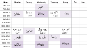 weekly schedule example weekly calendar lsu center for academic success