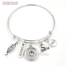 10pcs whole interchangeable snap jewelry faith inspirational charms i love bracelets bangles for women gift in charm bracelets from
