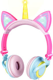 Unicorn Light Up Headphones Gbd Unicorn Kids Cat Ear Headphones For Girls Boys Toddlers Tablet School Supply Gifts Light Up Wired Kids Pink Headphones Over On Foldable Ear Game