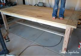 diy farmhouse dining table and bench. unfinished harvest table diy farmhouse dining and bench