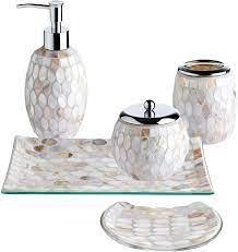 Amazon Com Whole Housewares 5 Pieces Bathroom Accessories Set Bathroom Soap Dispenser Set Mosaic Glass Bath Ensemble Lotion Dispenser Toothbrush Holder Cotton Jar Vanity Tray Soap Dish Pearl Home Kitchen