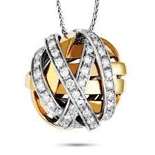 damiani 18k white and rose gold diamond circle pendant necklace luxury bazaar luxurybazaar com