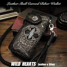 biker wallet skull hand carved leather genuine cowhide stingray handcrafted custom handmade