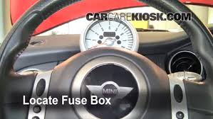 interior fuse box location 2002 2008 mini cooper 2004 mini locate interior fuse box and remove cover