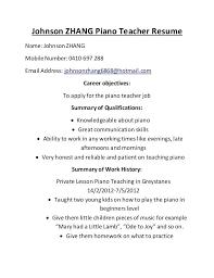 Resume Format For Music Teacher Resume Letter Directory