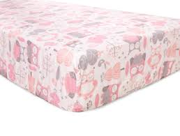 Levtex Baby Night Owl Fitted Crib Sheet - Pink