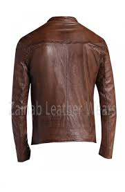 mens brown sheep waxed leather jacket code 3076 availability in stock