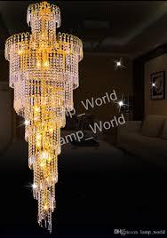 Großhandel Lange Spirale Gold Oder Silber Kristall Kronleuchter Leuchte Glanz Kristall Hängelampe Für Restaurant Hotel Lobby Von Lampworld 143478