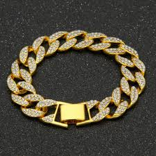 full diamond bracelets mens hip hop jewelry gold plated hiphop chains luxury hip hop bangle