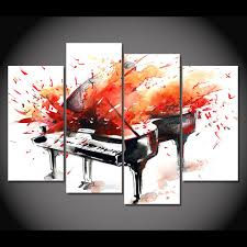 abstract piano red orange splash print wall art on canvas ash wall decor wall on piano themed wall art with abstract piano red orange splash print wall art on canvas ash wall