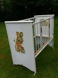 retro baby furniture. vintage 1960s 1970s bo peep wooden easy assemble baby crib cot collect glasgow retro furniture
