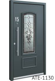 all grey bespoke aluminium front doors with glass middle