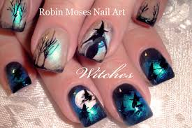 DIY Halloween Nails | Witches Flying over Moon Nail Art Design ...