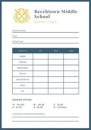 School Report Card Format Report Card Template Middle School Free 7 Samples Spitznas Info